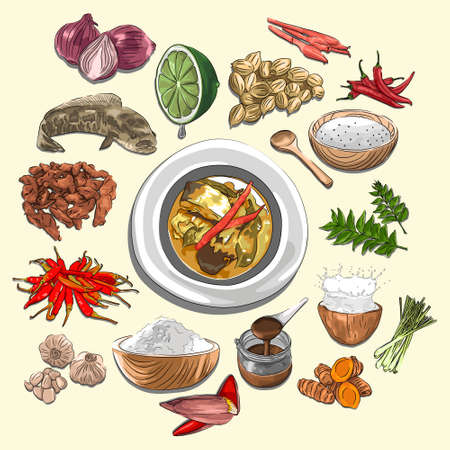 Curry Eungkot Paya Illustration & Ingredients, Indonesian Food From Aceh, Sketch Combine Vector Style Ilustração