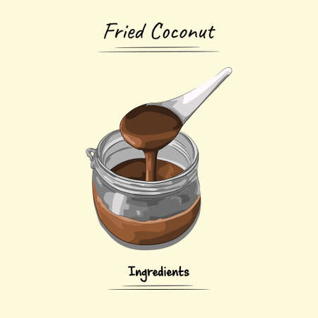 Fried Coconut Illustration Used Ingredients For Cooking Some Food, Sketch & Vector Style