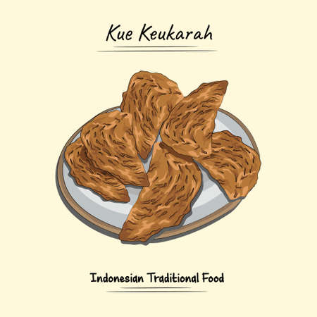 Illustration sketch combine vector style of cakes keukarah khas aceh,Indonesia. Good to use for restaurant menu, Indonesian food recipe book and food content.