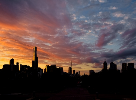 A Beautiful sunset over Melbourne CBD photo