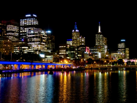 Melbourne city lights, looking down the yarra river photo