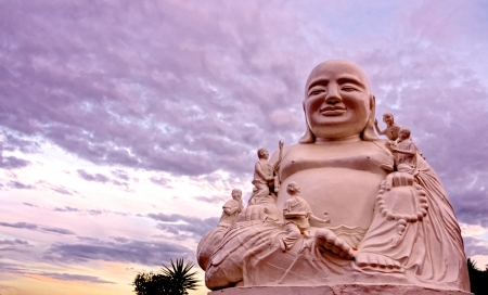 a beautiful sunset view of a traditional ancient Buddha photo