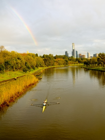 could: Melbournea Australia on a beautifl fall day, Rainbows, rivers and rowing. What more could you want Stock Photo