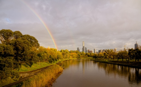 Melbournea Australia on a beautifl fall day, Rainbows, rivers and rowing. What more could you want Stock Photo