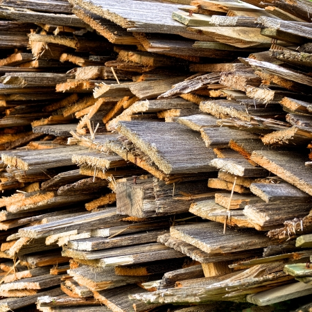 kindling: A large stack on wood kindling ready for winter