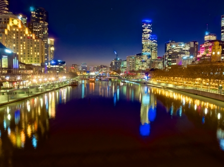 victoria: looking down the yarra river on a beautiful night in melbourne