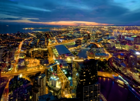 looking out over melbourne incliding docklands