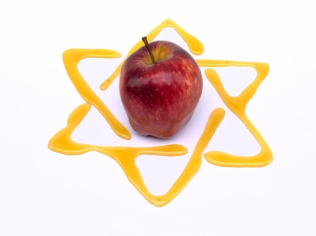 yom kippur: honey and apple  yom kippur breaking of the fast with star of david Stock Photo