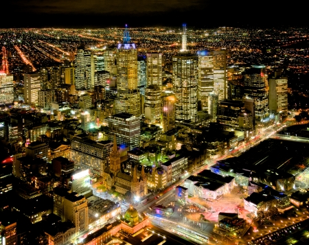 melbourne at night looking over the yarra river Stock Photo