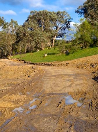 muddy rural track in victoria australia Stock Photo