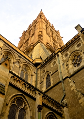 looking up at tower of a historic old building in melbourne  Stock Photo