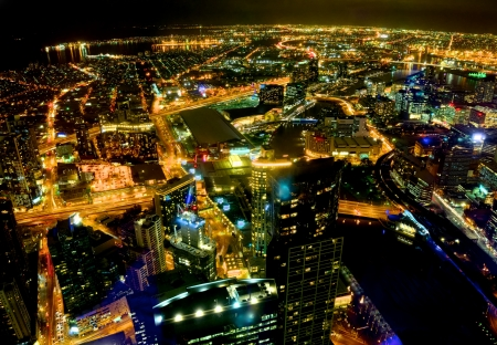 nigh time view of melbourne looking out over the bay