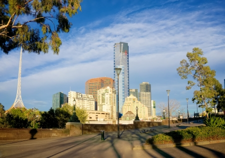 View of Melbourne from the yarra river with tallest tower in southern hemisphere at centre Stock Photo