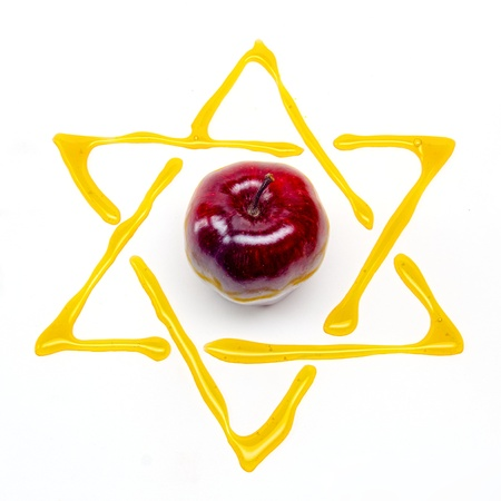 shana tova: star of david and apple for rosh hashana Stock Photo