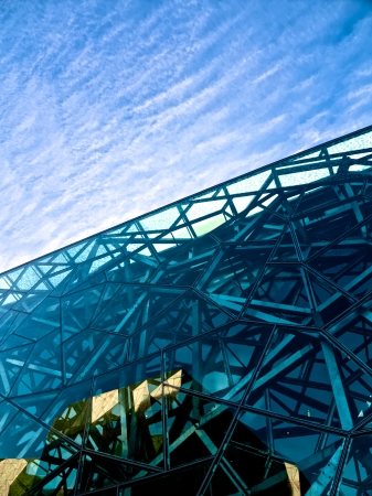 early morning close up of building in federation square melbourne
