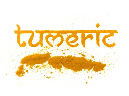 turmeric: isolated tumeric curry spice written in letters Stock Photo