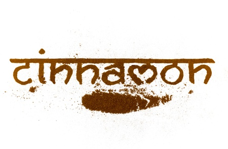 cinnamon  written in words with actual spice