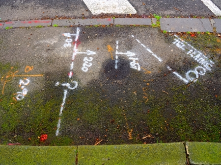 Chalk surveyors marks on mossy concrete sidewalk