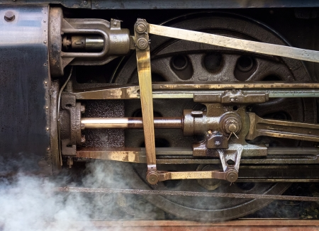 Close up of wheel mechanism on an historic steam train
