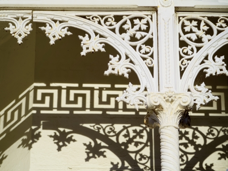 details of lattice work on Victorian terrace house in Melbourne photo