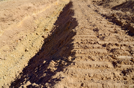 ditch for a house foundation in melbourne australia Stock Photo
