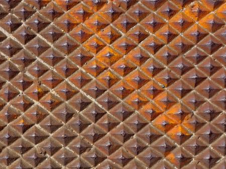 diamond shaped rusty iron plate  Stock Photo