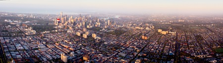 elevated view: aerial view over melbourne during balloon flight