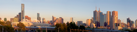melbourne australia: panorama of melbourne on a beautiful summer morning
