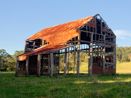 broken down rusty old australian sheep shed photo