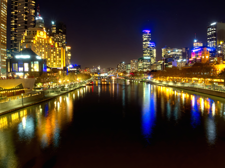melbourne at night looking down the yarra river photo