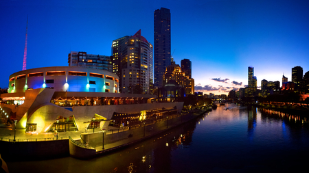 melbourne and arts precinct at dusk