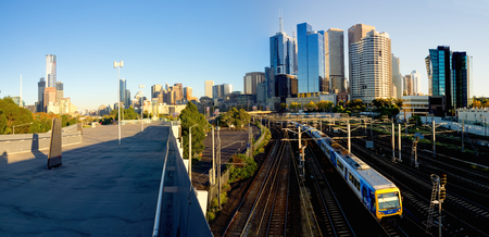 panorama of melbourne with train and buildings Stock Photo