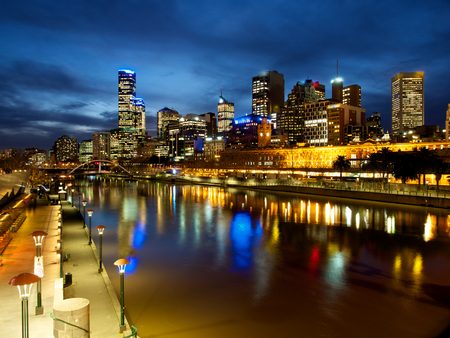 melbourne and the yarra river on a winters night