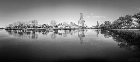 black and white Melbourne reflected in the Yarra river on a cold winter day Stock Photo