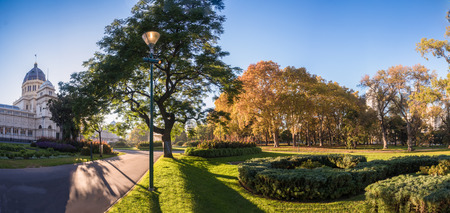 Panorama of Melbournes historic exhibition building on a sunny morning Stock Photo