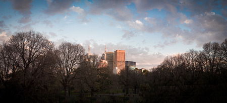 winters: melbourne skyline on a cold winters morning Stock Photo