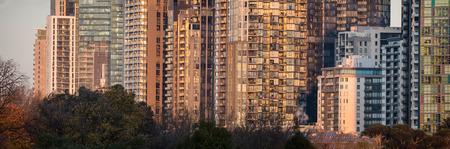 Panorama of apartment blocks in Melbourne Australia