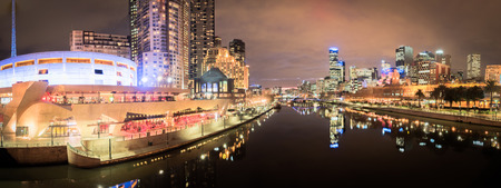 panorama of melbourne city australia at night looking down the yarra river