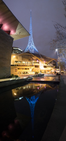 precinct: melbourne australia arts precinct or district on a winter nights Stock Photo