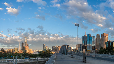 Panorama of melbourne city centre with a blue and cloudy sky on a winter morning