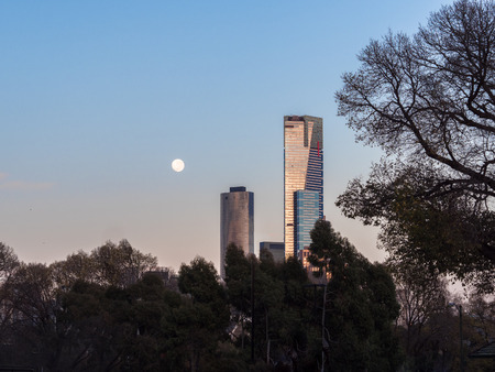 melbourne city australia on a cold winter morning with a full moon