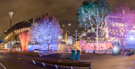 Melbourne and the federation square on a winters night Stock Photo