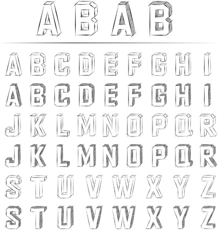 sketched alphabet set Vector