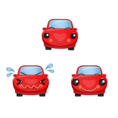 sweat: Cute red car character  You can use it for driving guide, traffic sign, safety rule guide, and etc