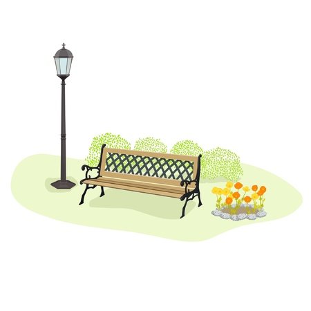 garden bench: park view Illustration