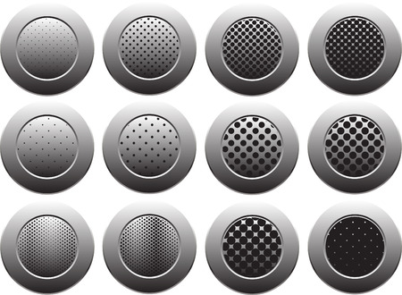 black and gray bottons on white background Vector