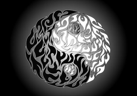 good karma: Yin yang, pattern symbol of balance and harmony