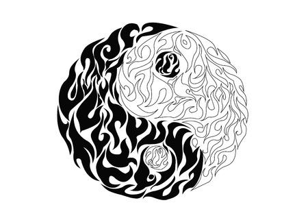 Yin yang, pattern symbol of balance and harmony Vector