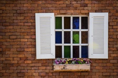 case colorate: Romain finestra Opzioni Archivio Fotografico