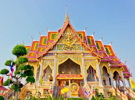 Beautiful Golden thai temple in Smut Prakarn , Thailand Stock Photo
